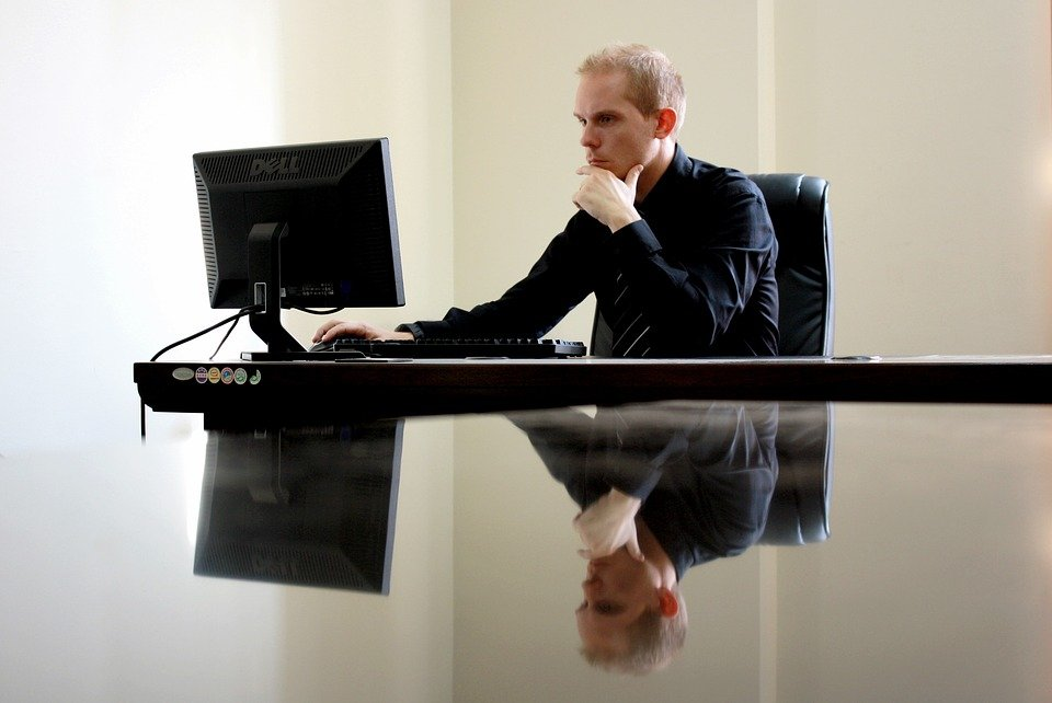 Businessman in front of his computer