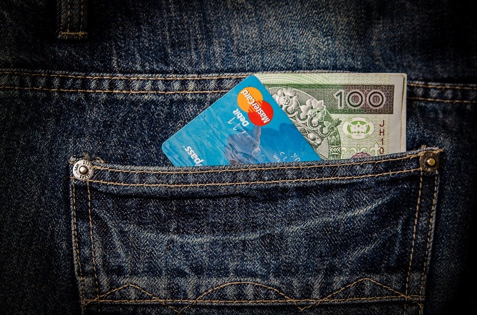 Credit card and bill in the pocket