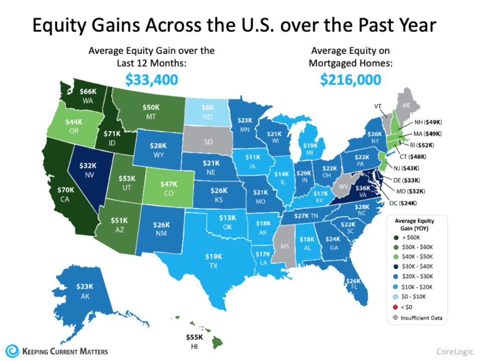 map of home equity increase by state